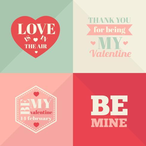 Vintage Valentinstagkarten. Valentinstag-Karten vektor