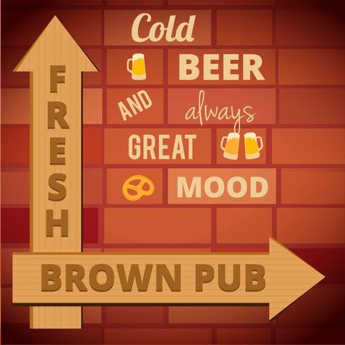 Vintage ölaffisch. Retro affischmall för en öl. Reklam vektor layout för pub.