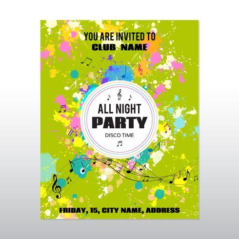 Party Poster mit Tinte spritzt und Noten vektor