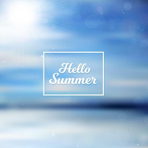 Suddig Hello Summer bakgrund, hav och himmel vektor