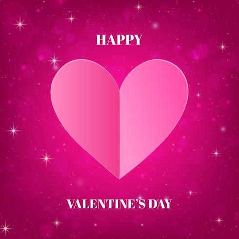 Alla hjärtans dag kort med hjärtat och glänsande rosa bakgrund vektor