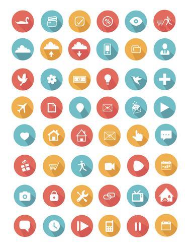 Platt ikoner samling med lång skugga vektor