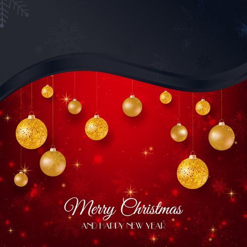 Schwarzer und roter Hintergrund der frohen Weihnachten mit Goldweihnachtsbällen vektor