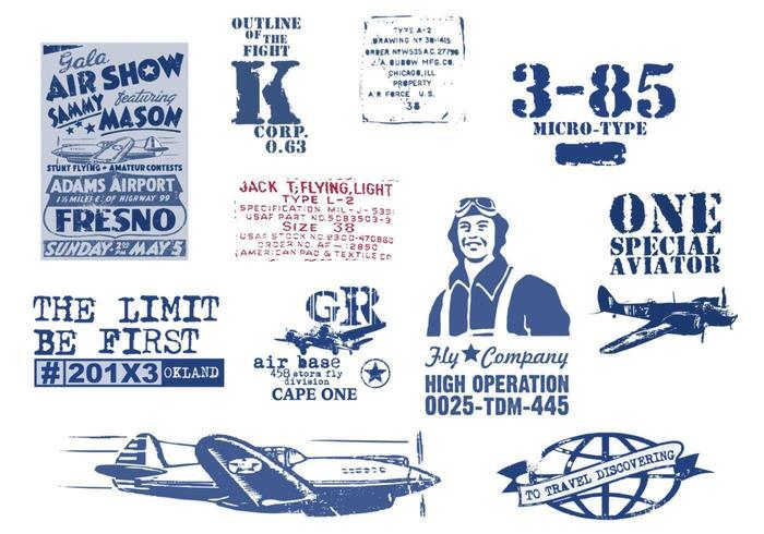Vintage luftfartyg vektor pack