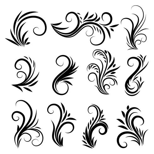 Kalligraphische Strudelverzierungen der Weinlese eingestellt vektor