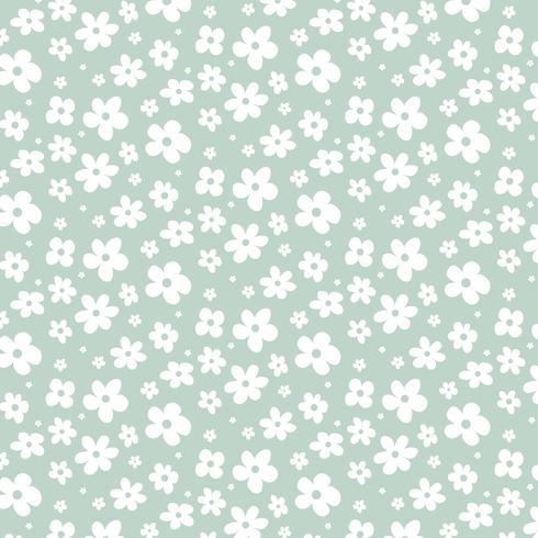 Vita blommor på grön bakgrund vektor