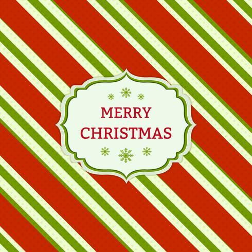 Julrött och grönt randigt kort vektor