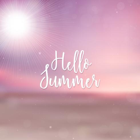 Suddig Hello Summer bakgrund, strand solnedgång vektor