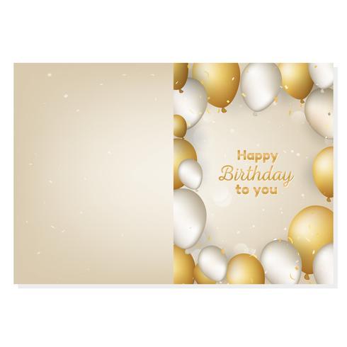 Grattis på födelsedagskortet med guld och vita realistiska ballonger vektor