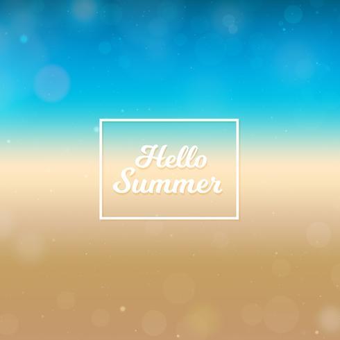 Suddig Hello Summer bakgrund, strand och hav vektor