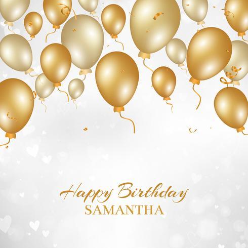 Grattis på födelsedagen bakgrund med guldballonger vektor