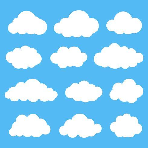 Cloud vektor ikon satt vit färg på blå bakgrund.