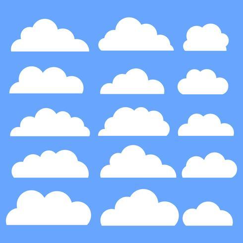 Gesetzte weiße Farbe der Wolkenvektor-Ikone auf blauem Hintergrund. vektor