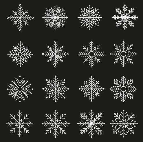 Vita snöflingor uppsättning vektor