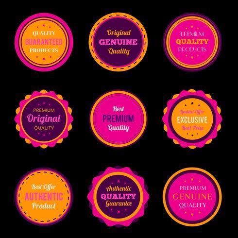 Färgglada märken och etikettuppsättningar vektor