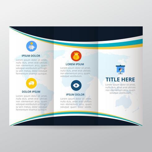 Trifold broschyr, företagsbroschyrmall, trendbroschyr. vektor