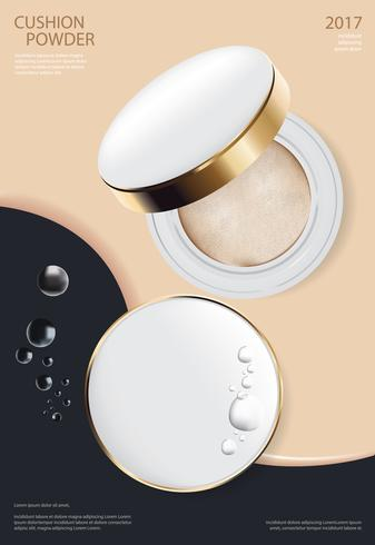 Make-up-Puder-Kissen-Plakat-Schablonen-Vektor-Illustration vektor