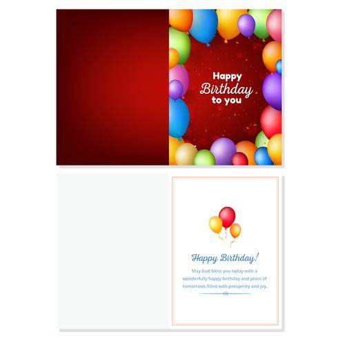 Röd grattis på födelsedagskort med färgglada realistiska ballonger vektor