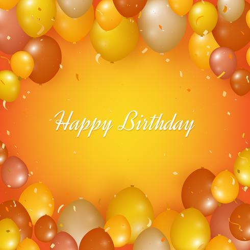 Realistischer alles- Gute zum Geburtstaghintergrund mit Ballonen und Konfettis vektor