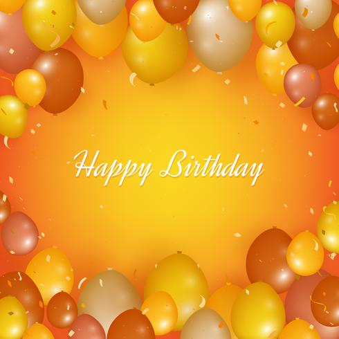Realistisk Grattis på födelsedagen bakgrund med ballonger och konfetti vektor