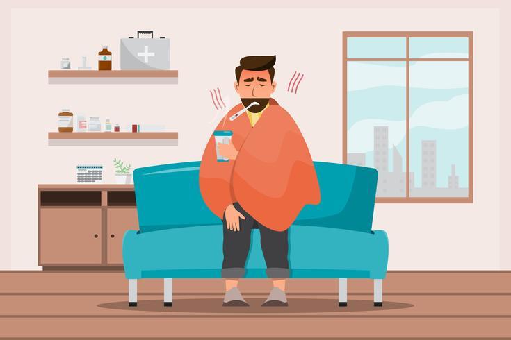 kranker mann sitzt erkältet im zimmer vektor