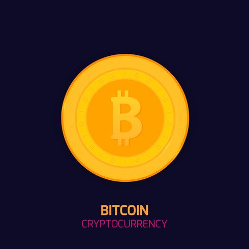 Bitcoin koncept. Cryptocurrency logo suck. Digitala pengar. Block kedja, finanssymbol. Plattform vektor illustration