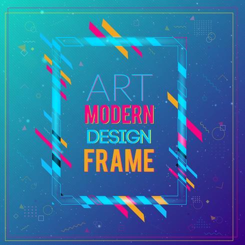 Vektorram för text Modern konstgrafik. Dynamisk ram med stilfulla, färgglada abstrakta geometriska former runt den på en gradientbakgrund. Trendiga neonfärglinjer i modern designstil. vektor