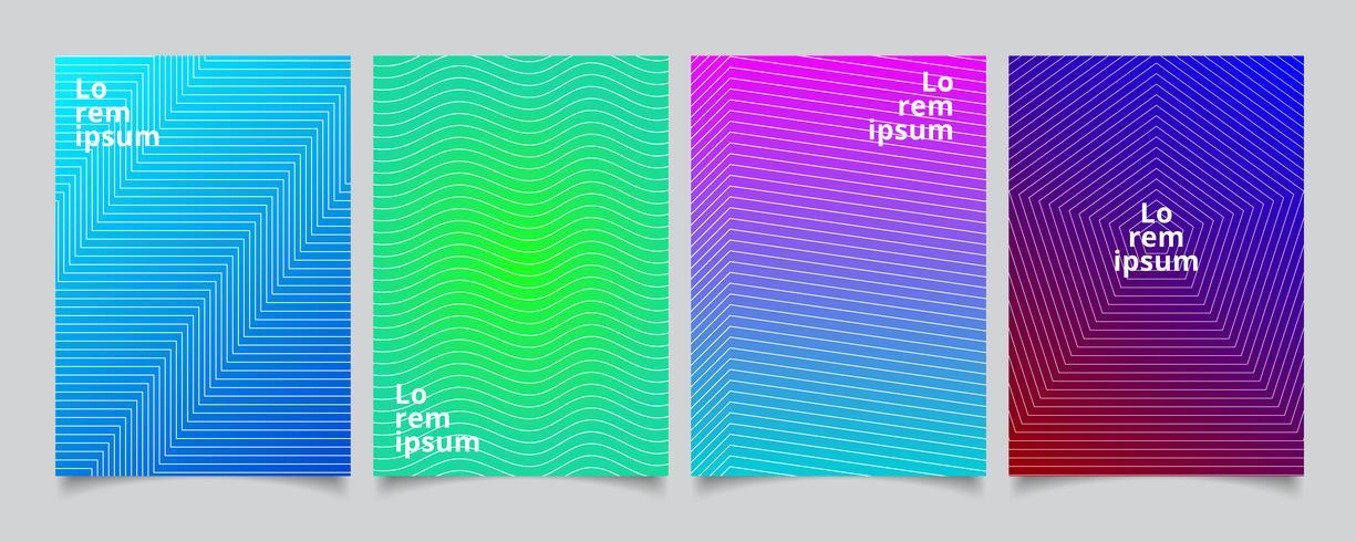 Stellen Sie minimale Abdeckungsdesign der Schablone, buntes Halbtonbild der Steigung mit Linien Musterhintergrund ein. vektor