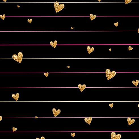 Guldglittrande hjärta konfetti sömlöst mönster på randig bakgrund vektor