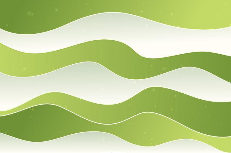 Grön vågor bakgrund, papper effekt vektor