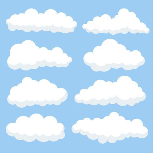 Tecknade moln isolerade på blå himmel panorama samling. Cloudscape i blå himmel, vit moln illustration vektor