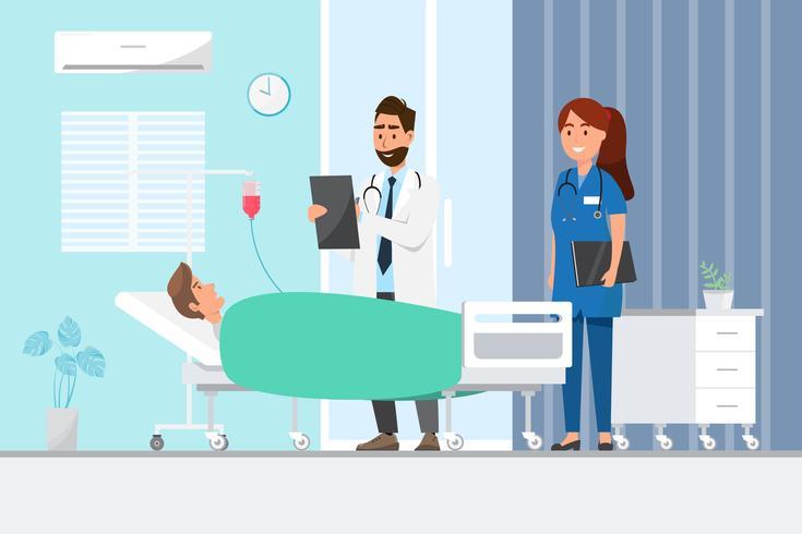 Medicinsk koncept med läkare och patienter i platt tecknad på sjukhushallen vektor