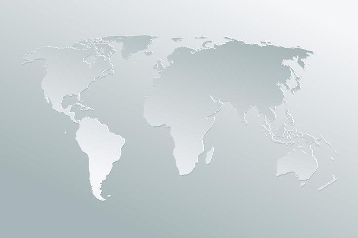 Politisk papperskarta av världen på en grå bakgrund. Papperskonst världskarta. vektor