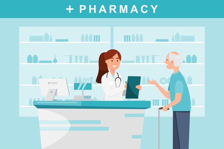 apotek med apotekare och klient i räknare. vektor