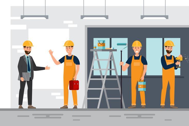 arkitekt, förman, ingenjörsbyggnadsarbetare i olika karaktärer vektor