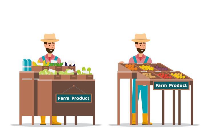 Hofladen. Lokaler Markt. Verkauf von Obst und Gemüse vektor