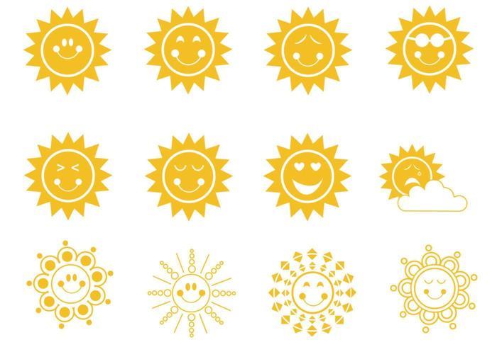 Söt Smiley Suns Vector Pack