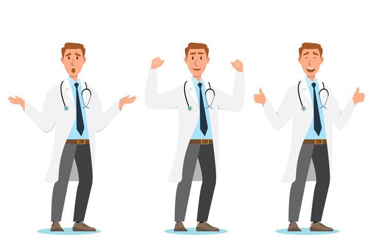 Satz von Arzt Comic-Figuren. Teamkonzept des medizinischen Personals vektor