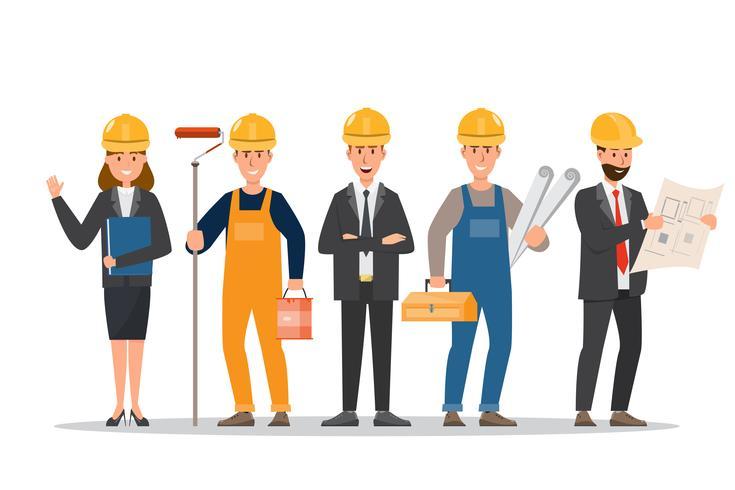 Architekt, Vorarbeiter, Ingenieur Bauarbeiter in verschiedenen Charakteren vektor