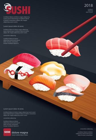 Plakat der Sushi-Restaurant-Vektorillustration vektor