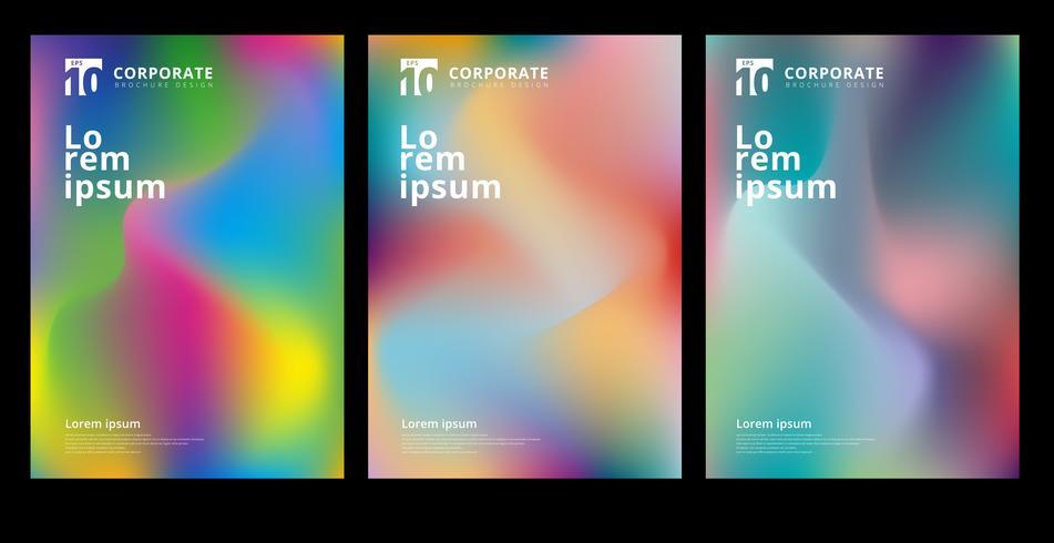 Sammanfattning modern färgstarka gradient former komposition täcka set design. vektor