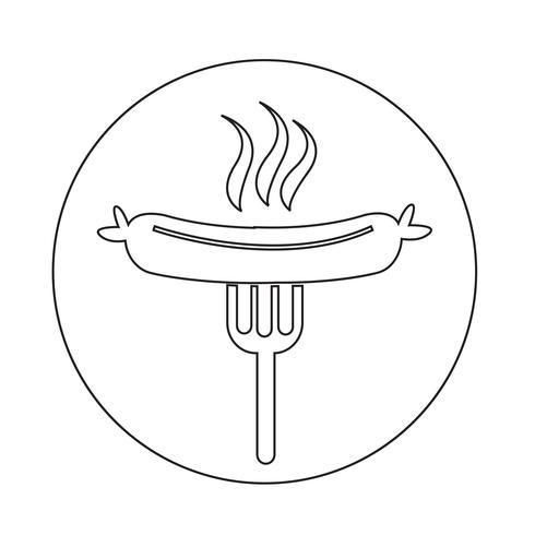 Wurst gegrillt mit Gabel-Symbol vektor