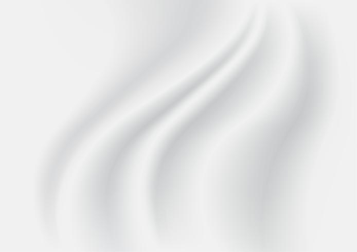 Abstrakt konsistens bakgrund. Vit och Grå Satinsilke. Tygduktextil med vågformade vågar. Vektor illustration.