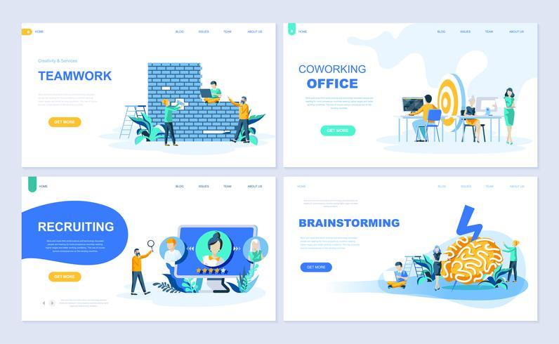 Set med målsida mall för Teamwork, Rekrytering, Brainstorming, Coworking Office. Modern vektor illustration platt koncept dekorerade människor karaktär för webbplats och mobil webbutveckling.