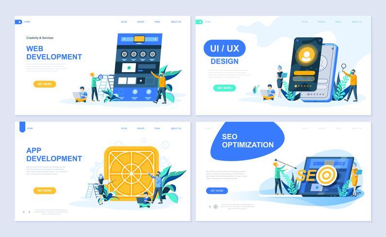 Set med målsida mall för webb- och apputveckling, UI-design, SEO-optimering. Modern vektor illustration platt koncept dekorerade människor karaktär för webbplats och mobil webbutveckling.
