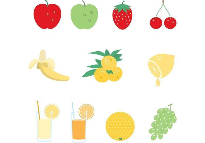 Juice och fruktvektorpack vektor