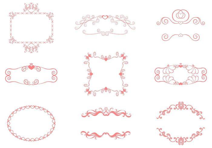 Swirly Herzen Rahmen Vektor Pack