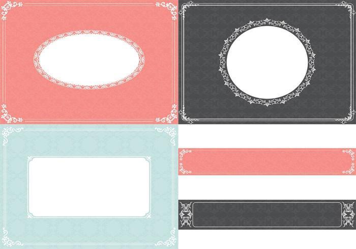 Vintage Ornament Hintergrund Vektor und Label Vector Pack