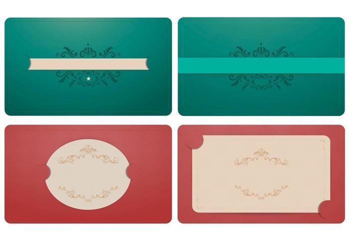 Elegant Smaragd och Korall Etikett Vector Ornament Pack