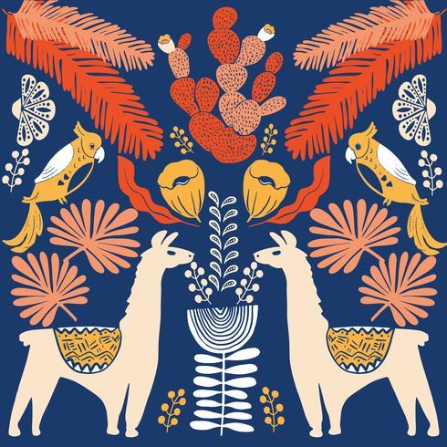 Abbildung mit Lama und Kaktuspflanzen. Vektornahtloses Muster auf botanischem Hintergrund. Grußkarte mit Alpaka. vektor